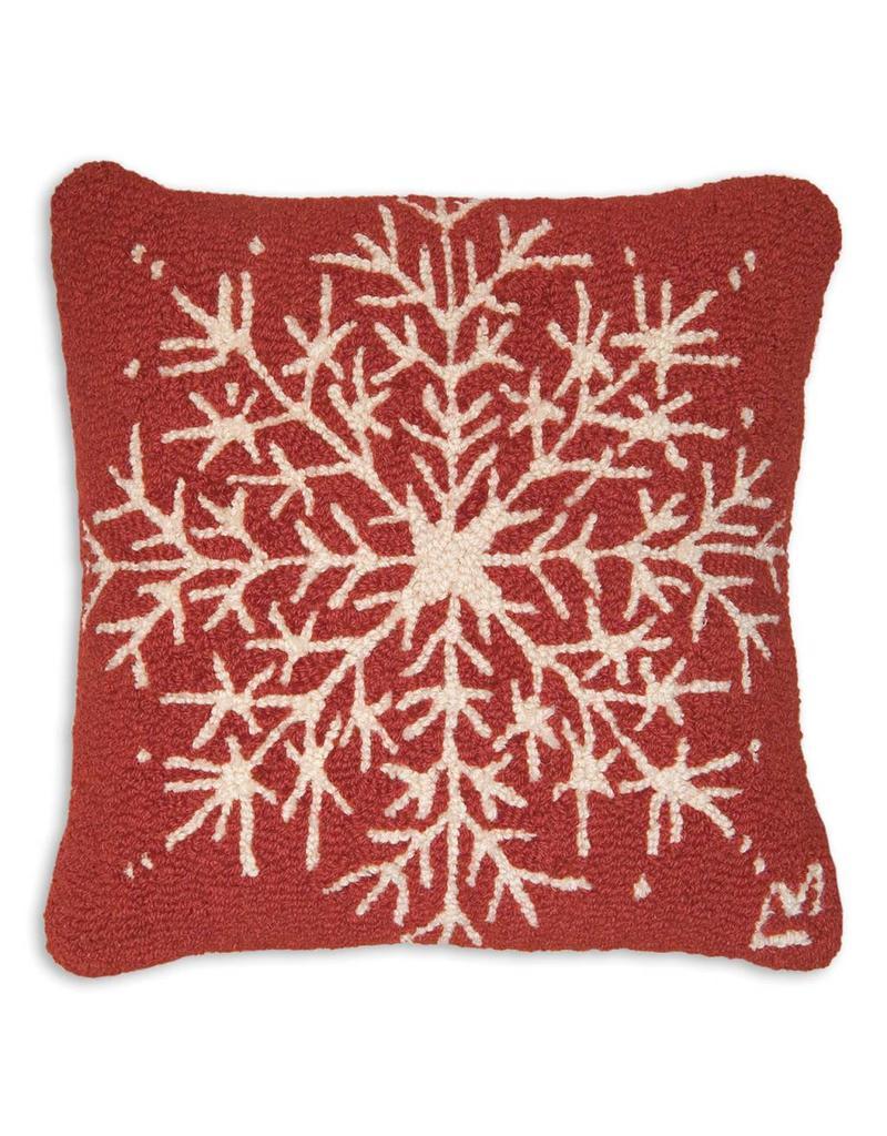 "Chandler 4 Corners Alpine Snowflake Hooked Pillow 18"""