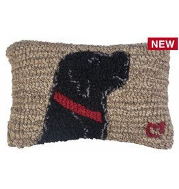 "Chandler 4 Corners Begging Lab Hooked Wool Pillow 8""x12"""