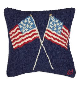 Chandler 4 Corners Crossed Flags on Blue Hooked Wool Pillow