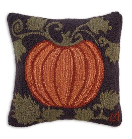 Chandler 4 Corners Harvest Pumpkin Hooked Wool Pillow