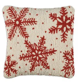 Chandler 4 Corners Icy Snowflakes Hooked Wool Pillow
