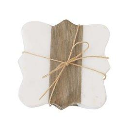 Quatrefoil Marble & Wood Coasters