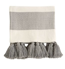 Grey Tassel Throw Blanket