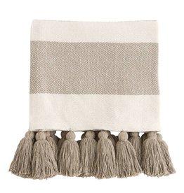 Tan Tassel Throw Blanket