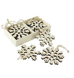 HomArt Snowflakes - Box of 12 Natural Wood