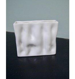 Alex Marshall Pottery Mini Rectangle Ripple Vase Gloss White