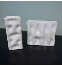 Alex Marshall Pottery Mini Square Ripple Vase Gloss White