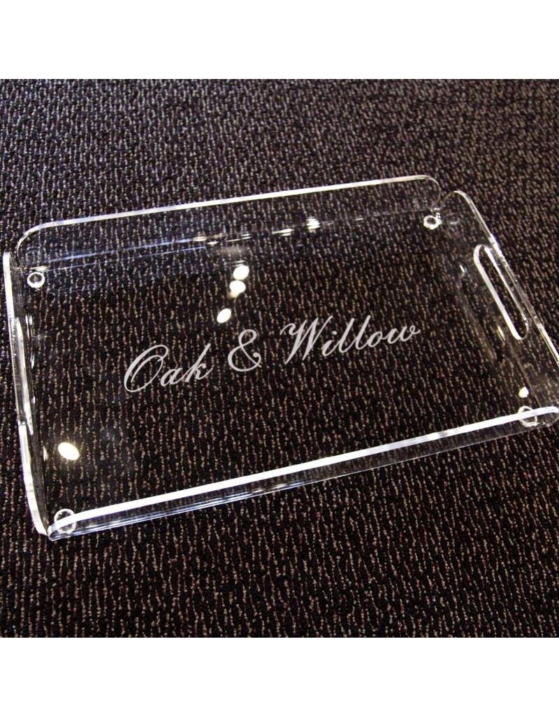 custom engraved rectangle serving tray oak willow