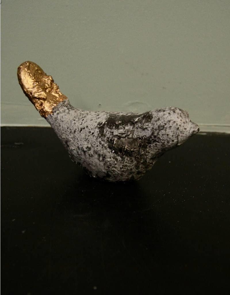 "Tradecie 8"" Gold Dipped Stoneware Bird"