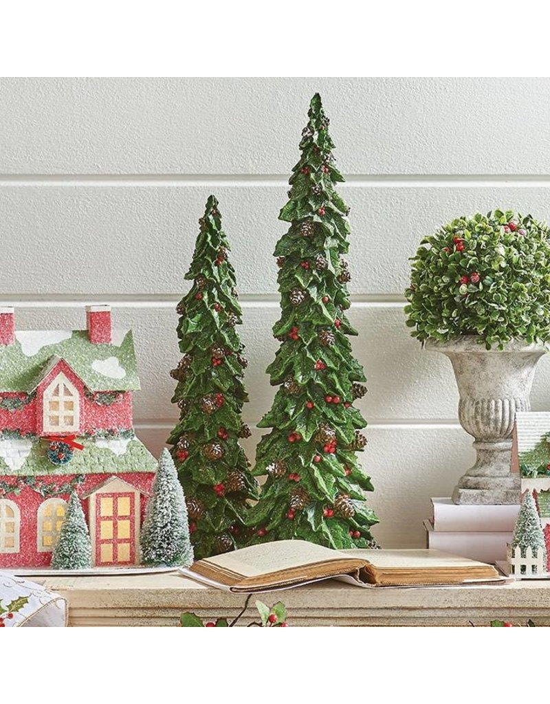 "19"" Holly Pinecone Tree Set/2"