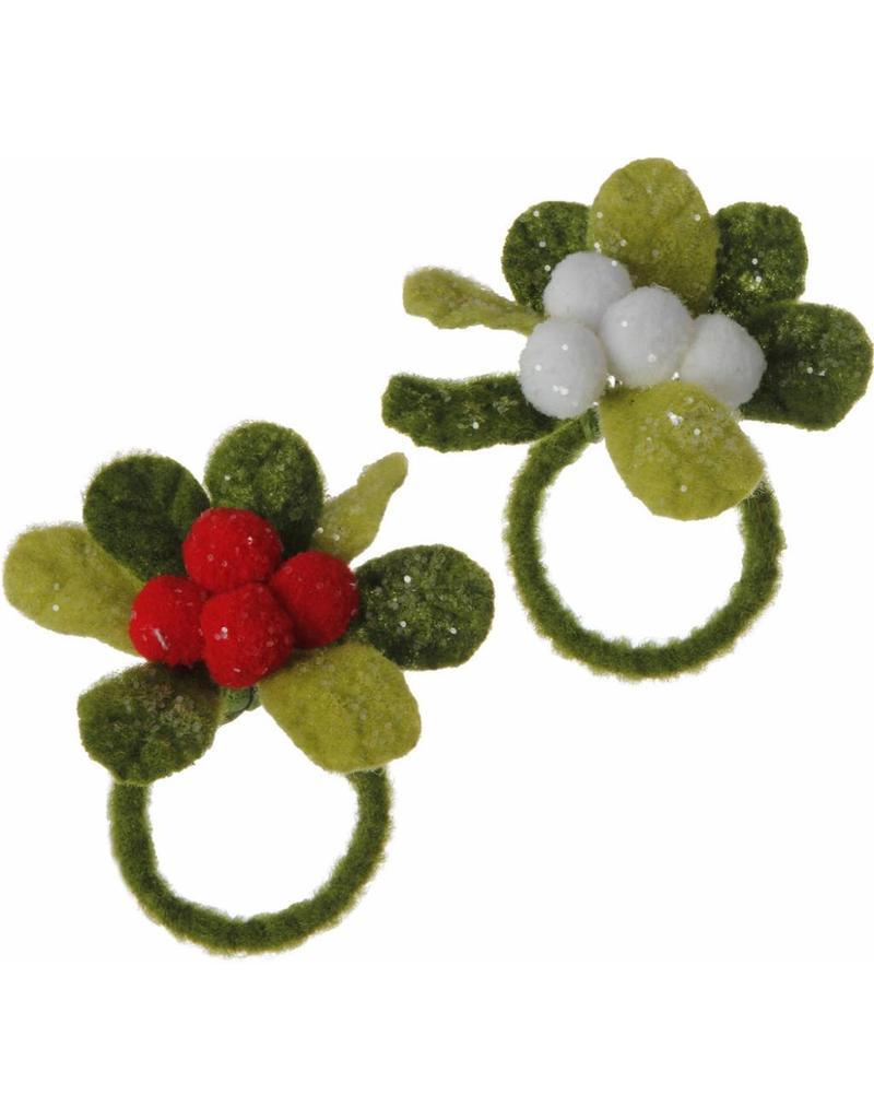 "3"" Mistletoe Napkin Ring set/6"