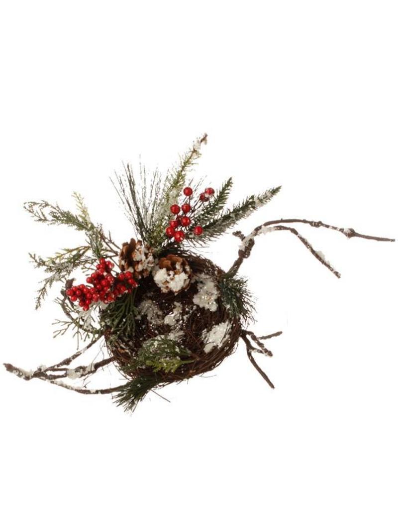 "22"" Snowy Pinecone Berry Nest"