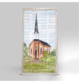 Greenbox Art 5x10 Mini Framed Canvas-Tall Brown Church