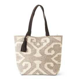 K & K Interiors Cream/Taupe Woven Tote Bag w/ Leather Straps/Tassel