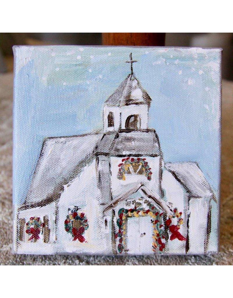 Pamela Harpour Christmas Church Original Art 6 x 6