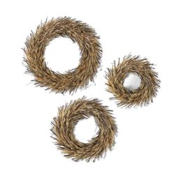 K & K Interiors Round Dried Wheat & Twig Wreaths Large