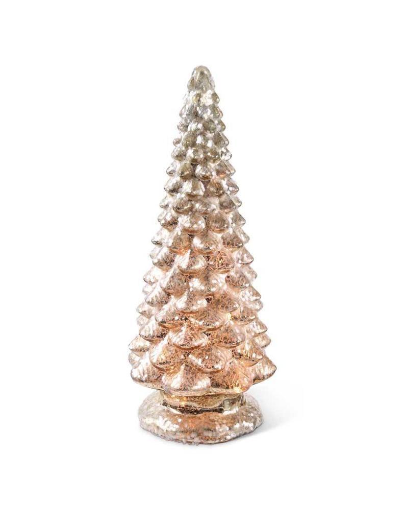 "K & K Interiors 16.5"" Battery Operated LED Mercury Glass Christmas Tree"