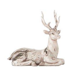 "K & K Interiors 9"" White Wash Knotty Deer Lying Down"