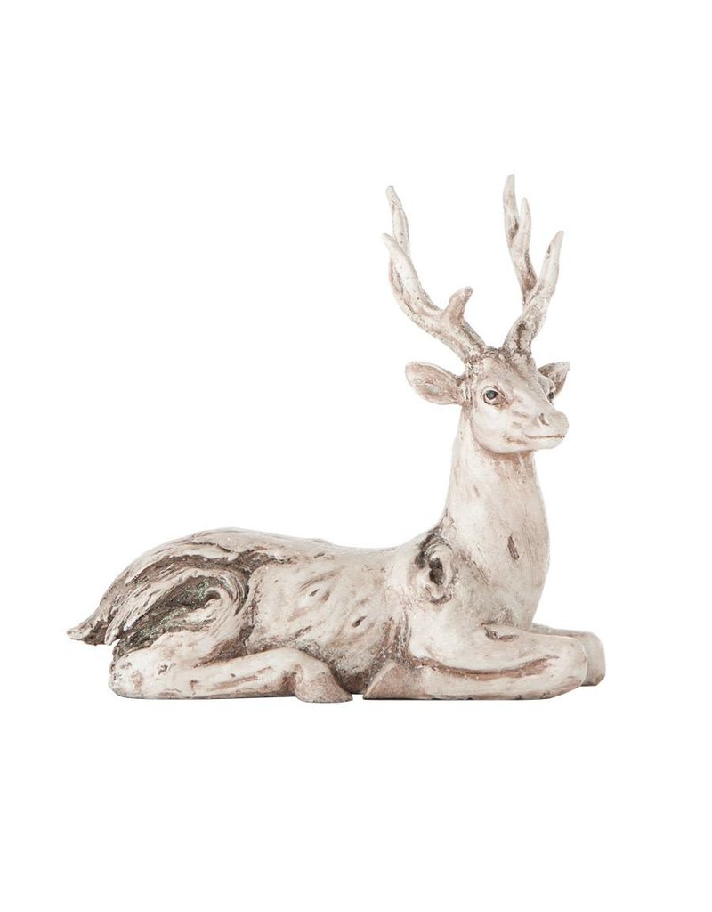 "K & K Interiors 9"" White Wash Knotty Deer Lying Down"