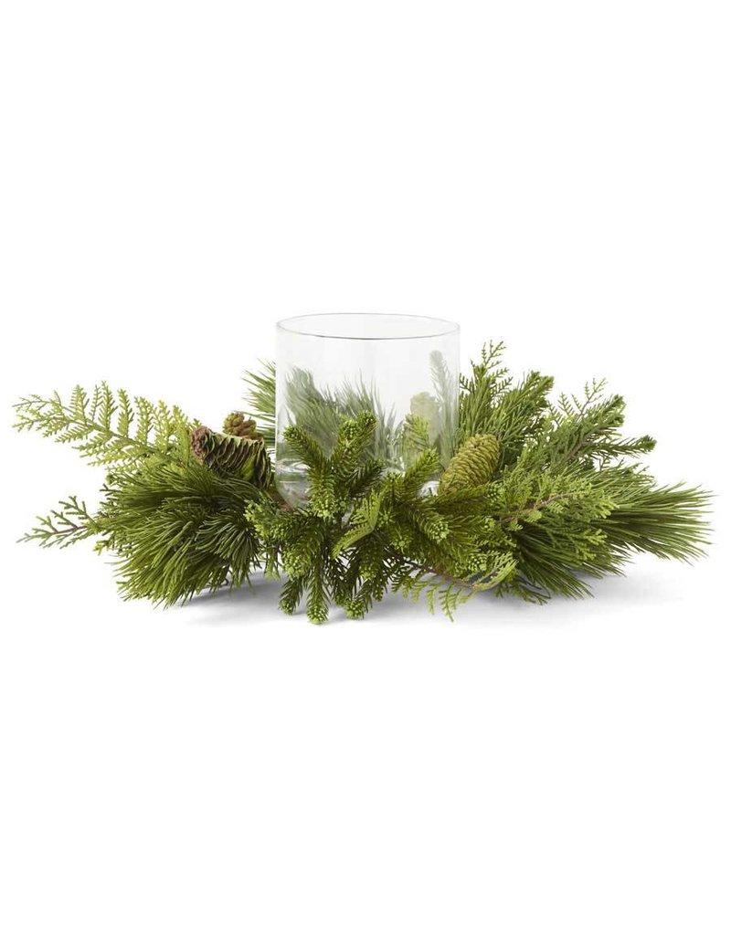 "K & K Interiors 20"" Mixed Pine & Cedar Wreath w/ Pinecones Hurricane"