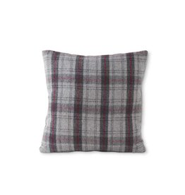 "K & K Interiors 18"" Square Grey White & Black Plaid Pillow"