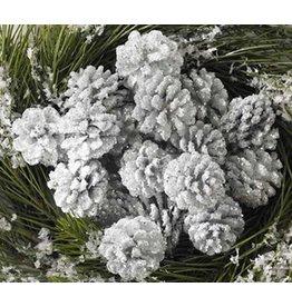 K & K Interiors Box/24 White Glitter Pinecones