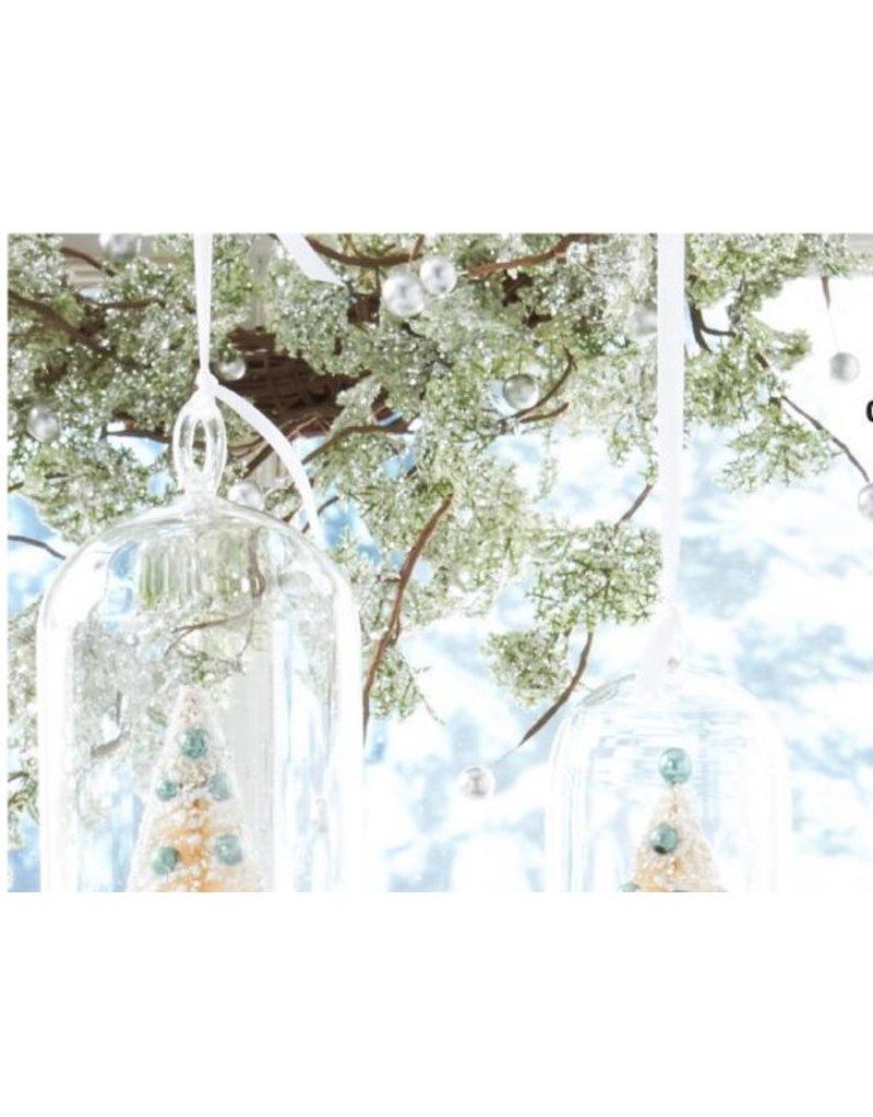 "K & K Interiors 60"" Green Glittered Garland w/ Silver Beads"