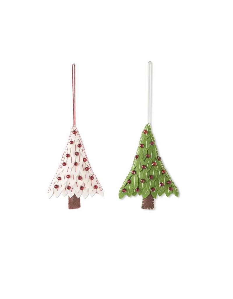 """K & K Interiors 6"""" Felt Christmas Red/White Tree Ornament 1"""