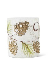 """K & K Interiors 4"""" Glass Candle Holder w/ Pinecones"""