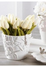 "K & K Interiors 10.5"" White Real Touch Mini Tulip Stem"