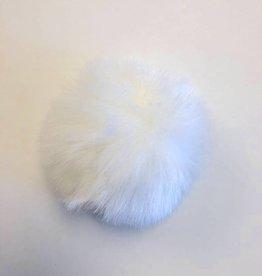 Spun Fibre Pom pom Faux Fur -  White