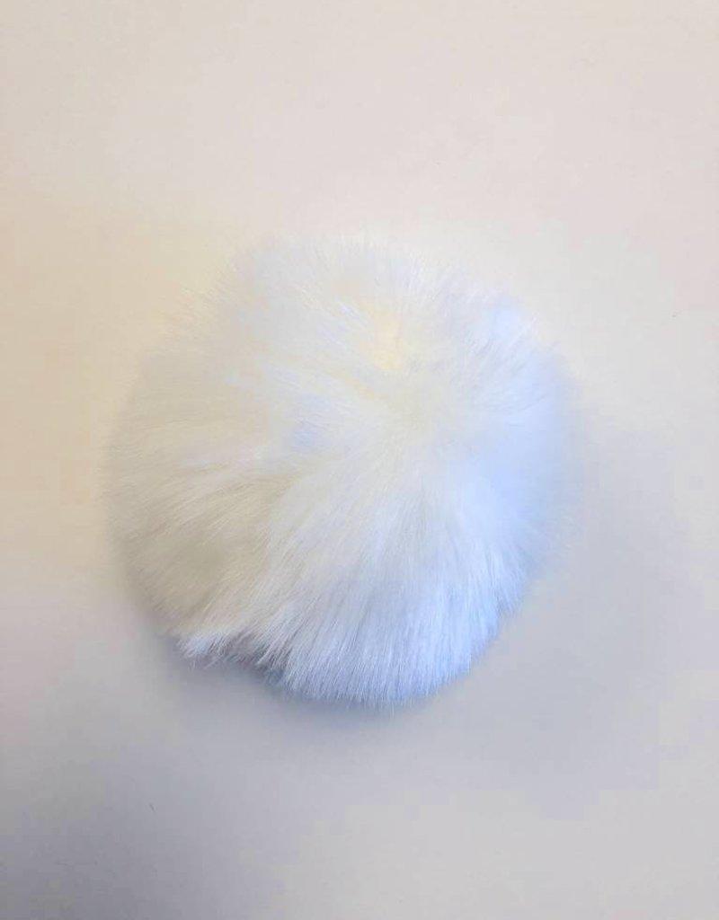 Pom pom Faux Fur with Snaps - White