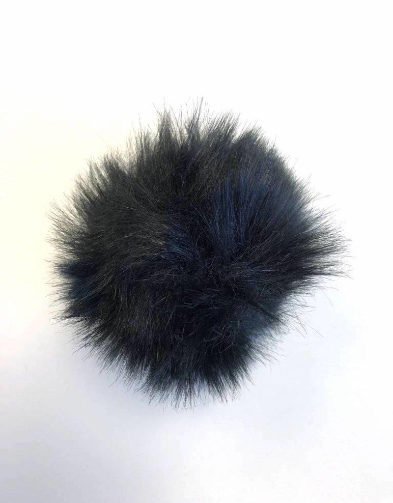 Pom pom Faux Fur with snaps -  Black