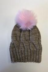 Pom pom Faux Fur with Snaps - Pink