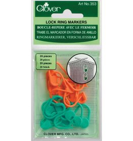 Clover Stitch Markers - Locking, 20 per package