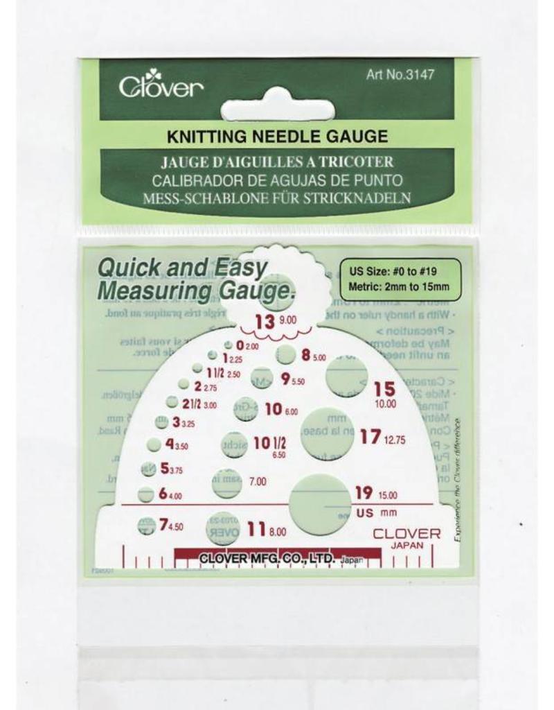 Clover Beanie-shape needle gauge measures needle sizes 0-19 (US)/2-15mm metric sizing