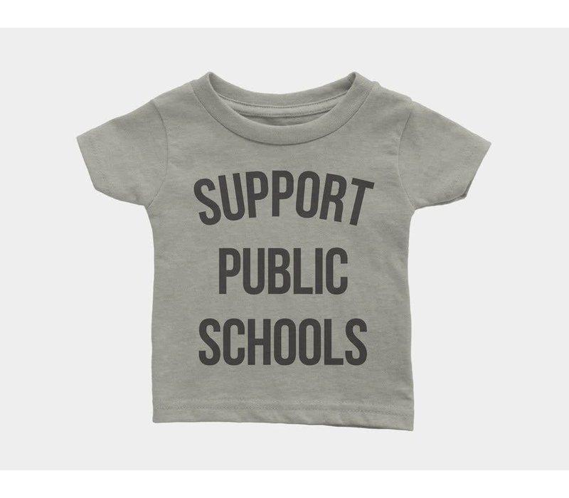 Support Public Schools Kids Tee Heather Stone