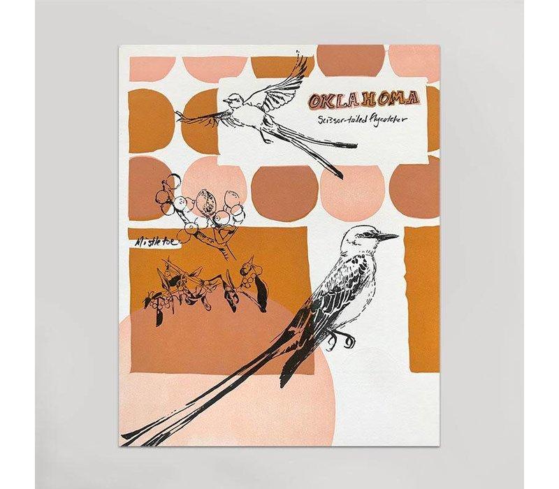 Oklahoma Art Print - Scissortails & Mistletoe