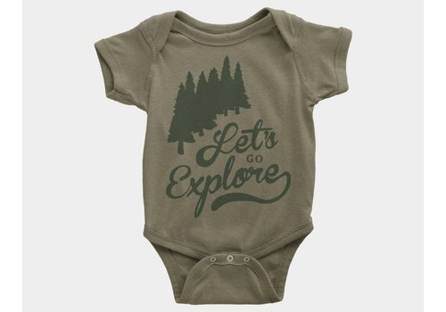 Shop Good Let's Go Explore Kids Onesie Olive Triblend