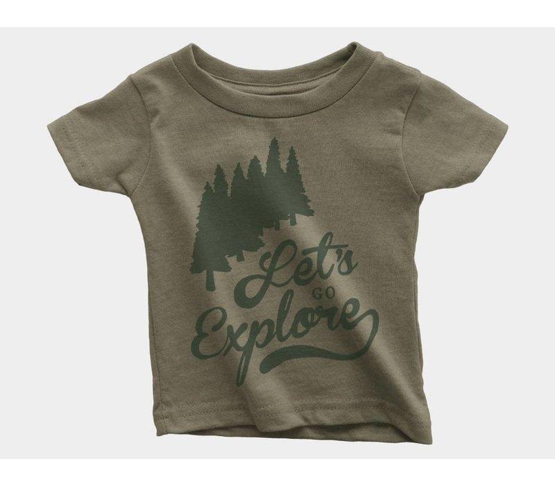 Let's Go Explore Kids Tee Olive Triblend