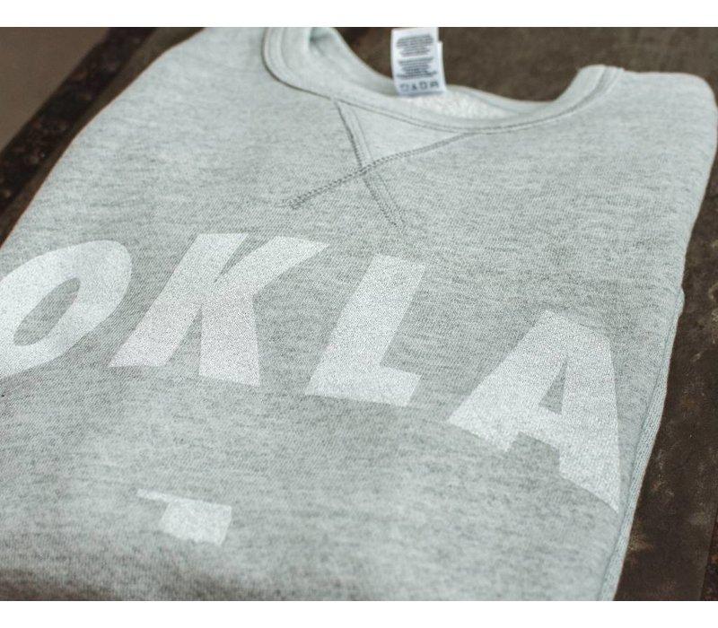 Vintage White OKLA Pullover Sweatshirt Heather Grey