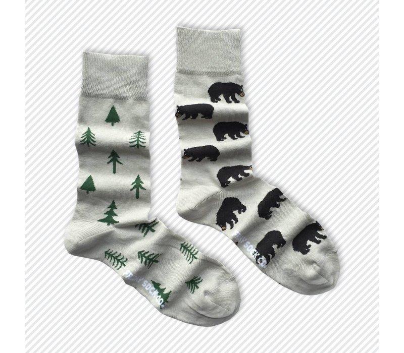 Bear & Trees Mismatch Socks