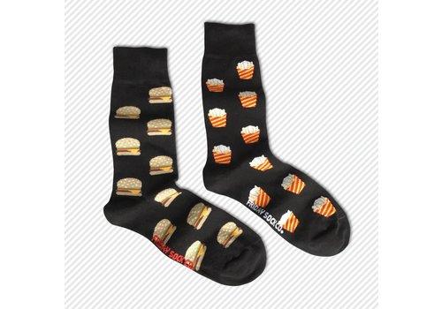 Friday Sock Co. Burger & Fries Mismatch Socks