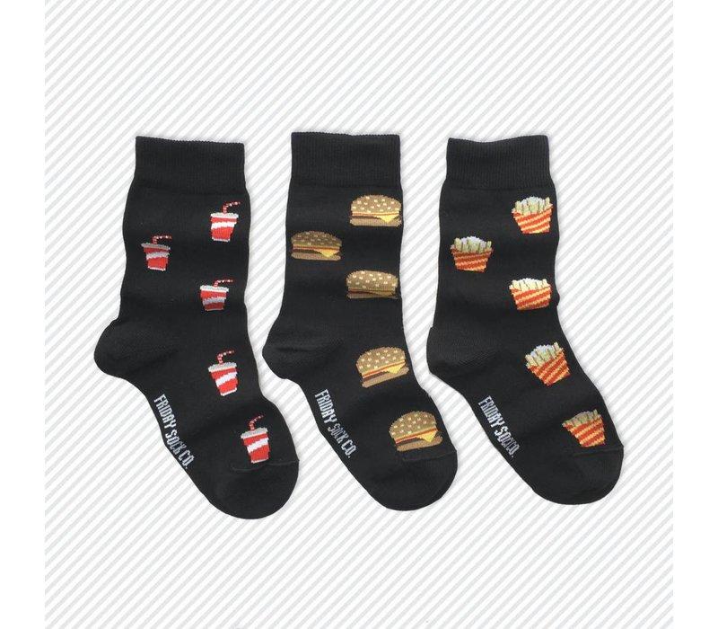 Burger & Fries Mismatch Kids Socks