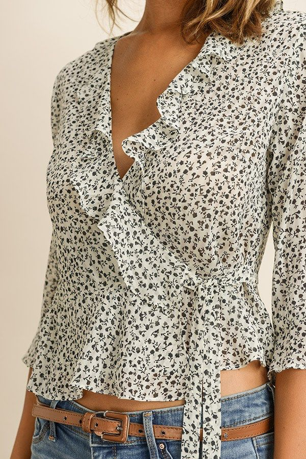 tops Ditsy Floral Wrap Blouse