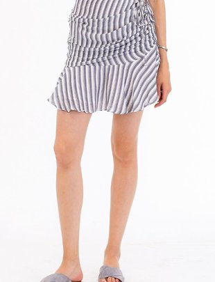 Skirt Striped Ruched Miniskirt