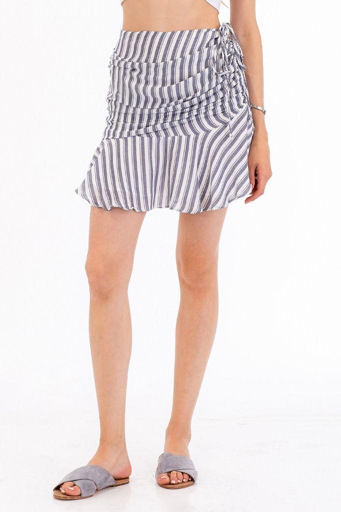 Skirt Striped Ruched Miniskirt