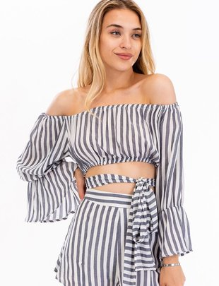 tops Striped Off Shoulder Crop Top