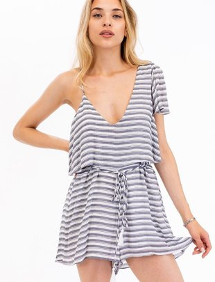 Rompers Striped One Shoulder Romper