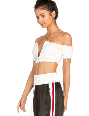 tops Ribbed Off Shoulder Crop